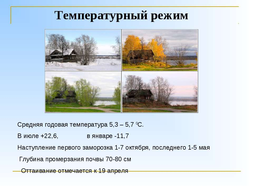 Температурный режим Средняя годовая температура 5,3 – 5,7 0С. В июле +22,6, в...