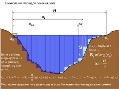 H xk Xk-1 Вычисление площади сечения реки. Δх Sk g(xk) – глубина в точке xk Е...
