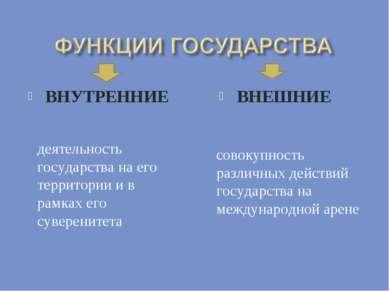 ВНУТРЕННИЕ ВНЕШНИЕ деятельность государства на его территории и в рамках его ...