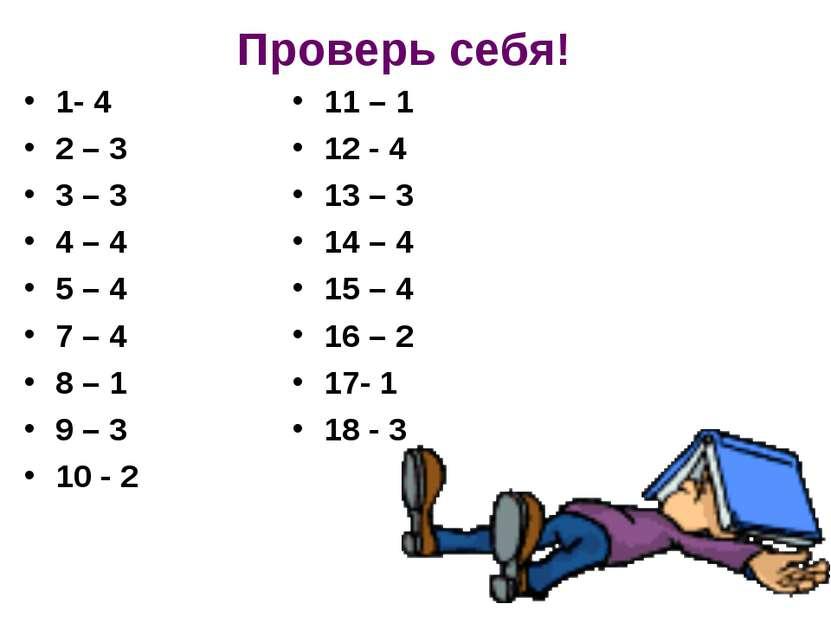 Проверь себя! 1- 4 2 – 3 3 – 3 4 – 4 5 – 4 7 – 4 8 – 1 9 – 3 10 - 2 11 – 1 12...