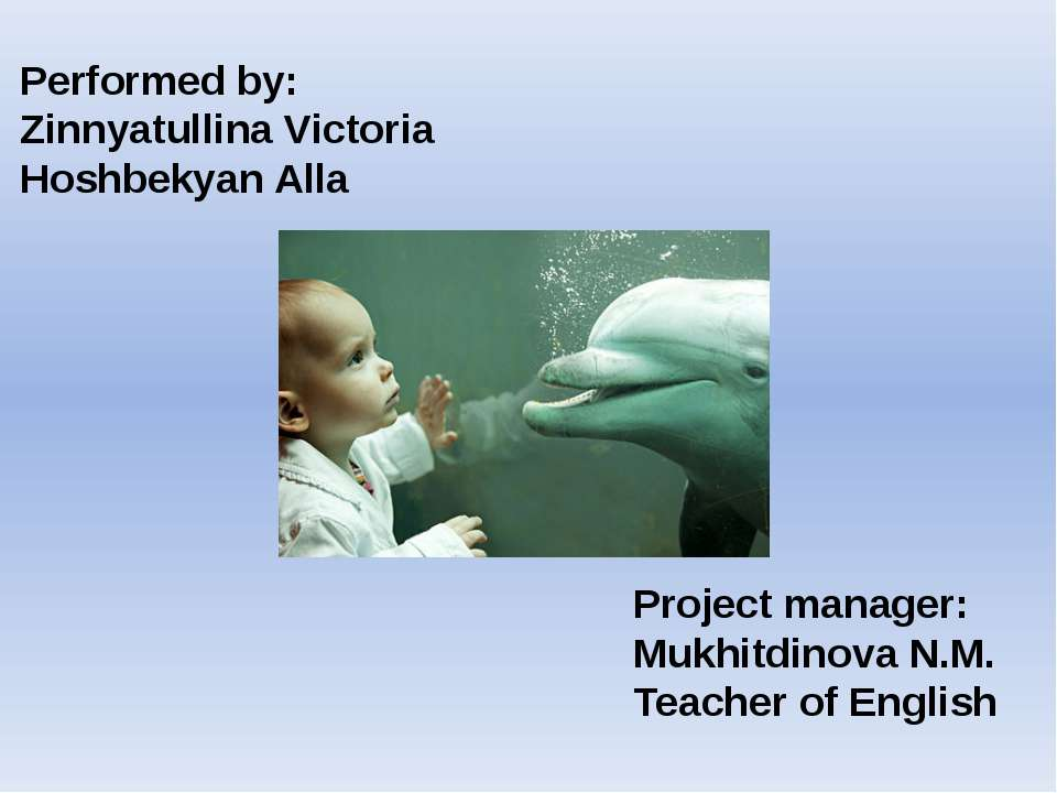 Performed by: Zinnyatullina Victoria Hoshbekyan Alla Project manager: Mukhitd...
