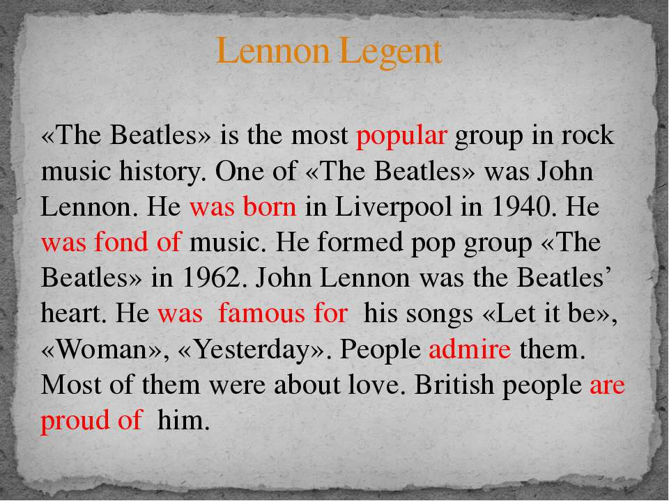 «The Beatles» is the most popular group in rock music history. One of «The Be...