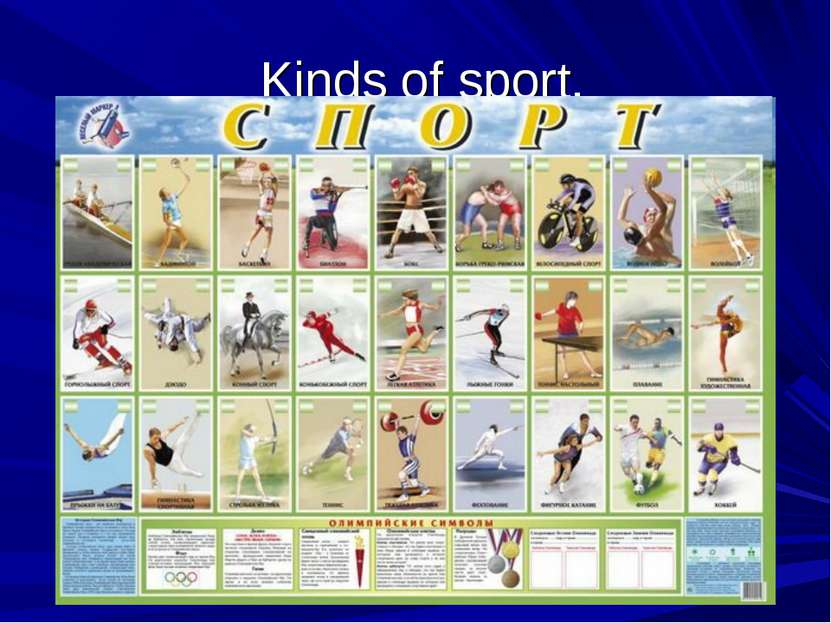 Kinds of sport.