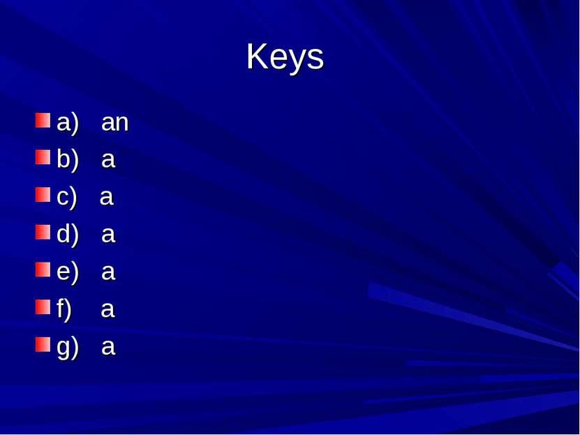Keys a) an b) a c) a d) a e) a f) a g) a