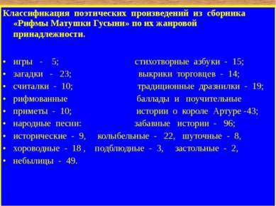 Классификация поэтических произведений из сборника «Рифмы Матушки Гусыни» по ...