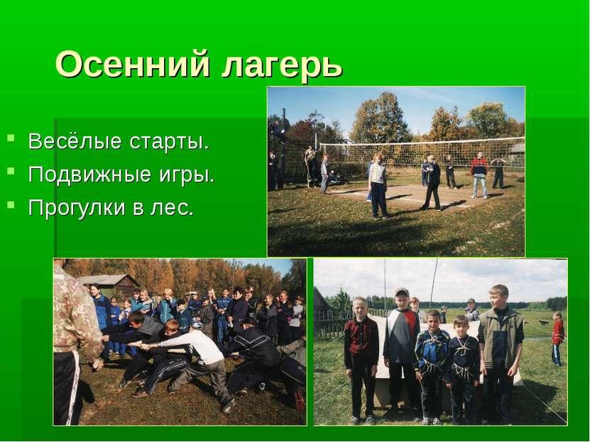 Осенний лагерь Весёлые старты. Подвижные игры. Прогулки в лес.