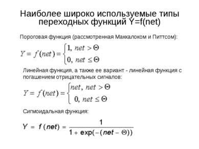Наиболее широко используемые типы переходных функций Y=f(net) Пороговая функц...