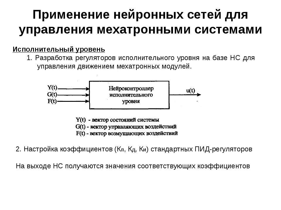 Применение нейронных сетей для управления мехатронными системами Исполнительн...