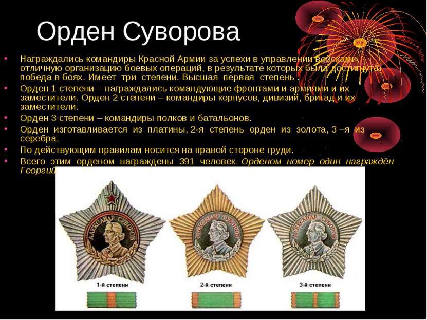 Орден Суворова Награждались командиры Красной Армии за успехи в управлении во...