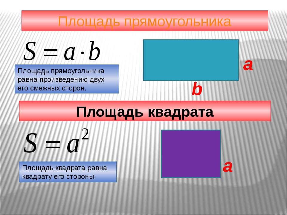 Площадь прямоугольника a b Площадь прямоугольника равна произведению двух его...
