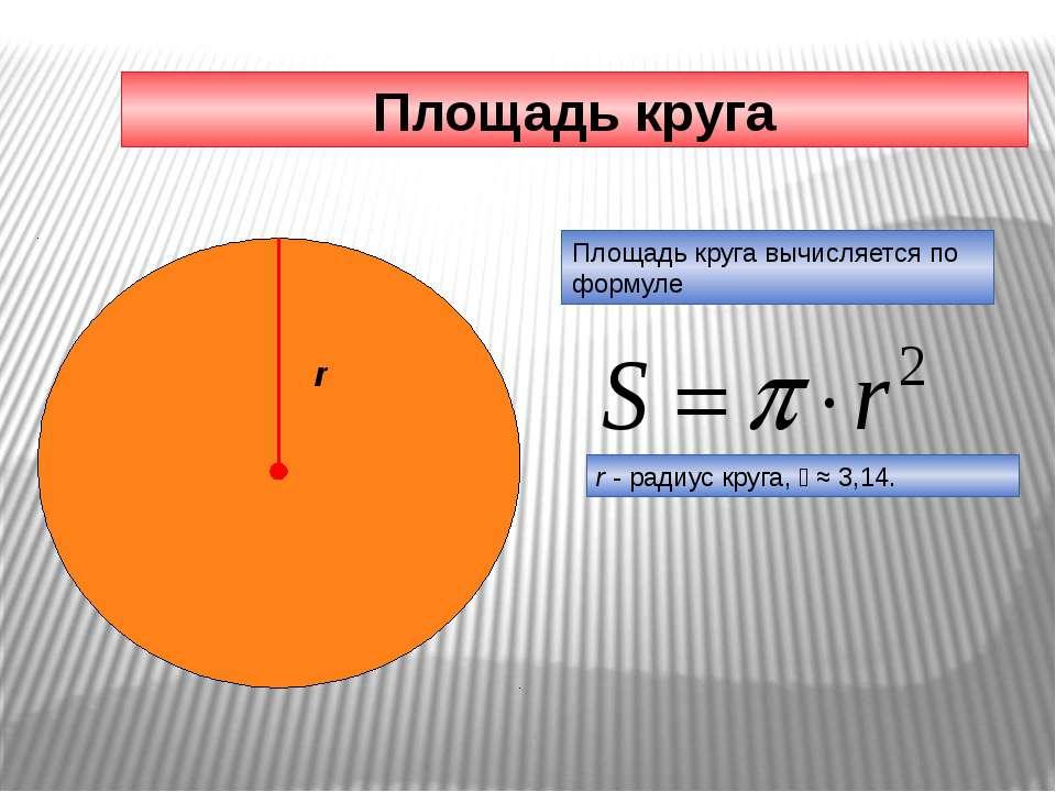 Площадь круга Площадь круга вычисляется по формуле r - радиус круга, ≈ 3,14. r