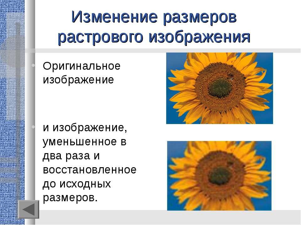 Изменение размеров растрового изображения Оригинальное изображение и изображе...