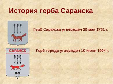 История герба Саранска Герб Саранска утвержден 28 мая 1781 г. Герб города утв...