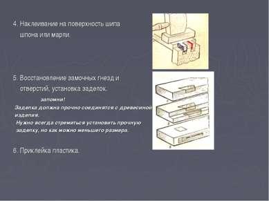 4. Наклеивание на поверхность шипа шпона или марли. 5. Восстановление замочны...