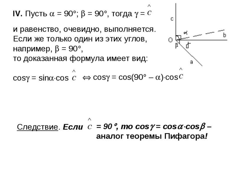 IV. Пусть = 90 ; = 90 , тогда = и равенство, очевидно, выполняется. Если же т...