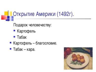 Открытие Америки (1492г). Подарок человечеству: Картофель Табак Картофель – б...