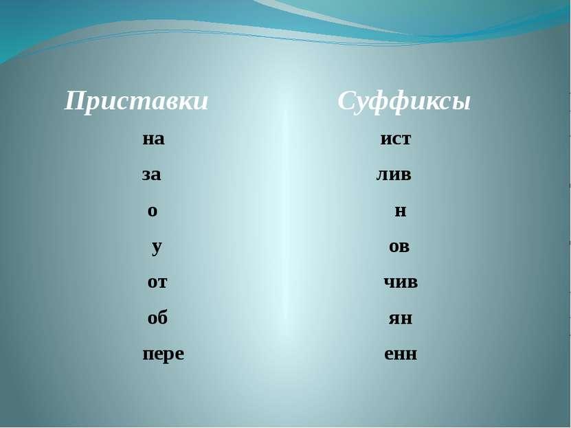 Приставки Суффиксы на ист за лив о н у ов от чив об ян пере енн