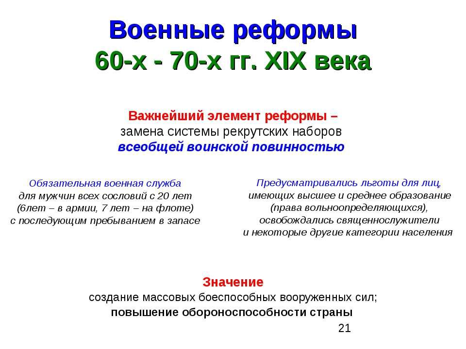 Военные реформы 60-х - 70-х гг. XIX века Важнейший элемент реформы – замена с...