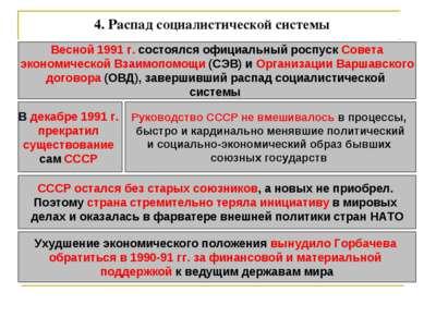 4. Распад социалистической системы Весной 1991 г. состоялся официальный роспу...