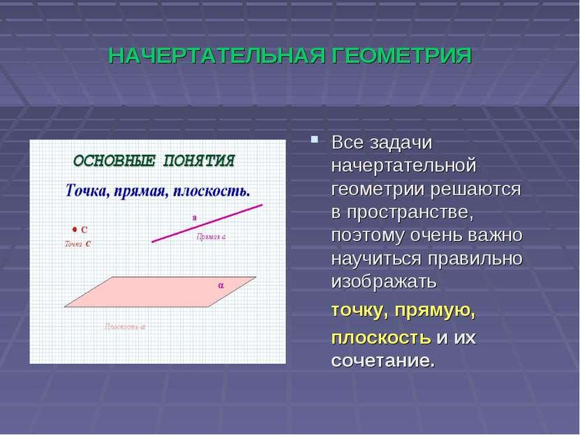 НАЧЕРТАТЕЛЬНАЯ ГЕОМЕТРИЯ Все задачи начертательной геометрии решаются в прост...