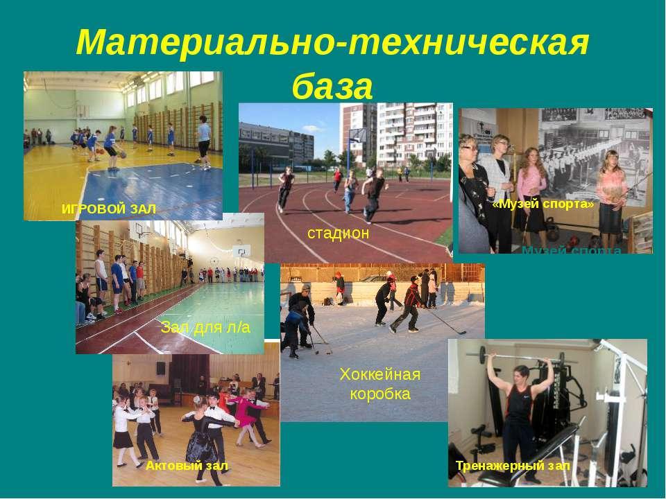 Материально-техническая база Игровой зал Зал для л/а тренажерный зал стадион ...