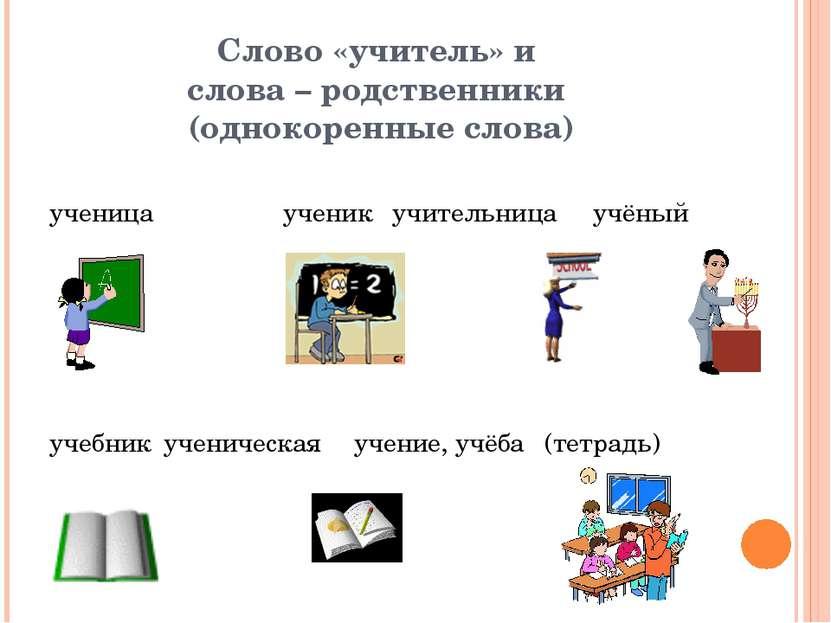 Слово «учитель» и слова – родственники (однокоренные слова)  ученица ученик ...