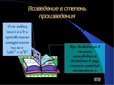 Возведение в степень произведения Для любых чисел a и b и произвольного натур...