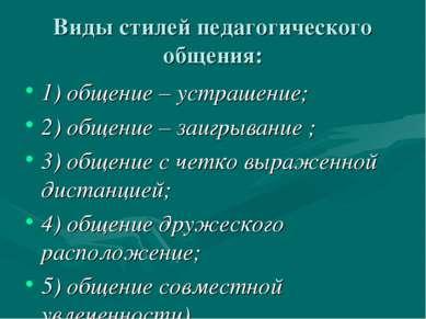 Виды стилей педагогического общения: 1) общение – устрашение; 2) общение – за...