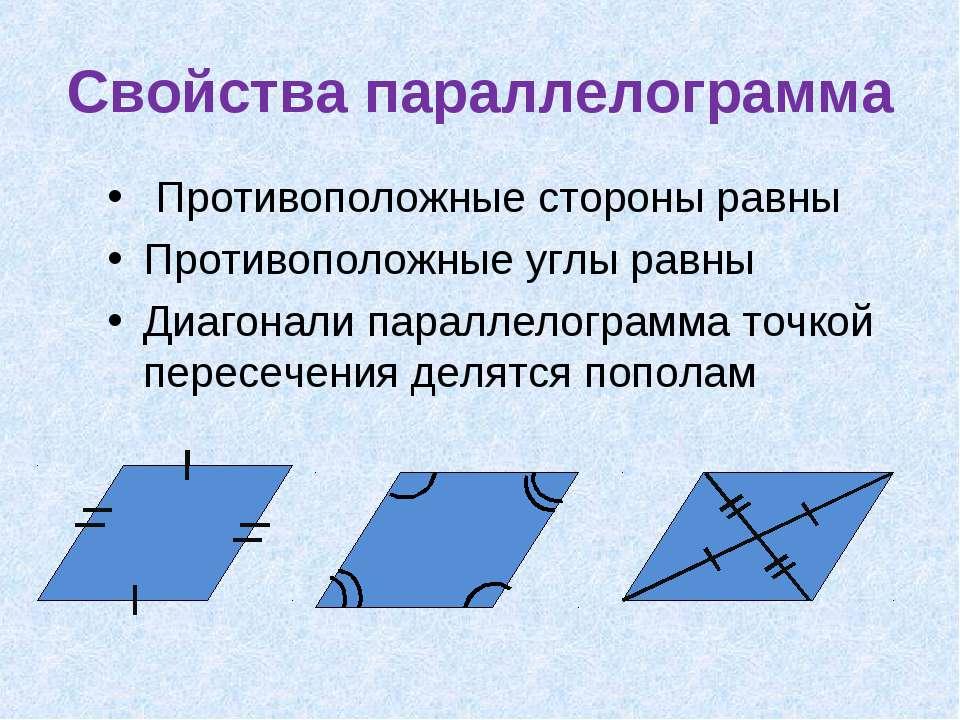 Свойства параллелограмма Противоположные стороны равны Противоположные углы р...