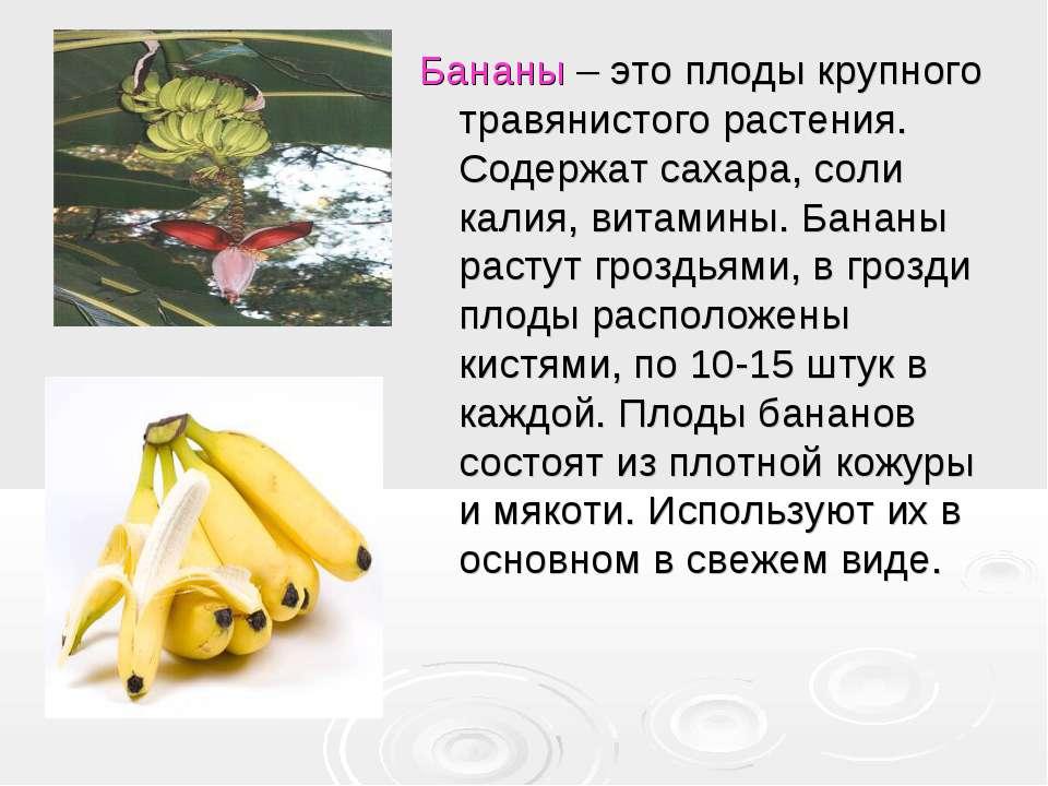 Бананы – это плоды крупного травянистого растения. Содержат сахара, соли кали...