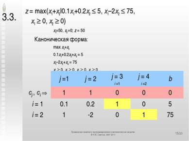 */23 3.3. z = max(x1+x2|0.1x1+0.2x2 5, x1–2x2 75, x1 0, x2 0) x1=50, x2 =0; z...