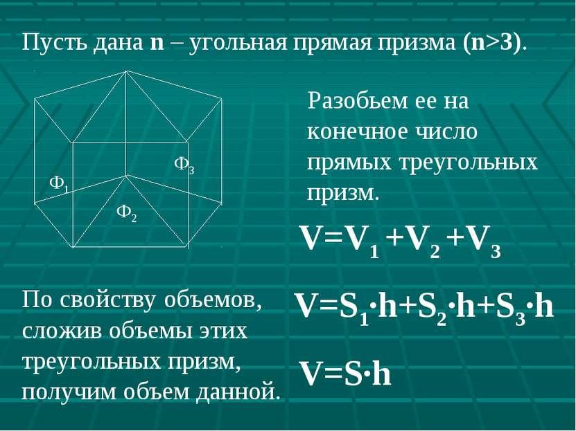По свойству объемов, сложив объемы этих треугольных призм, получим объем данн...
