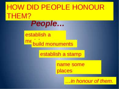 HOW DID PEOPLE HONOUR THEM? People… establish a medal build monuments name so...