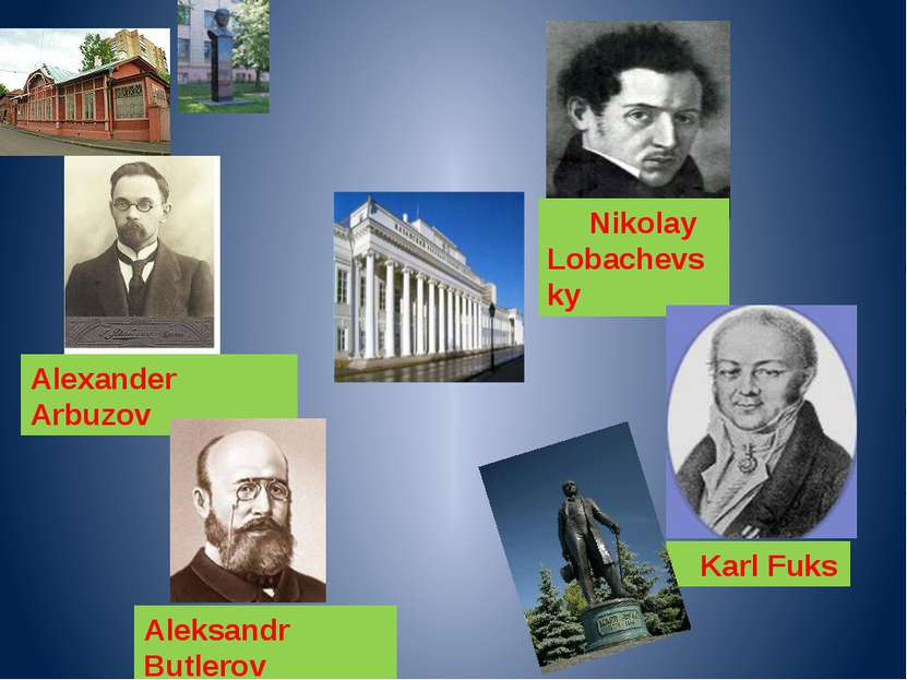 Alexander Arbuzov Aleksandr Butlerov Nikolay Lobachevsky Karl Fuks