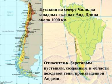 Пустыня на севере Чили, на западных склонах Анд. Длина около 1000 км. Относи...
