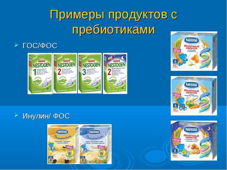 Примеры продуктов с пребиотиками ГОС/ФОС Инулин/ ФОС