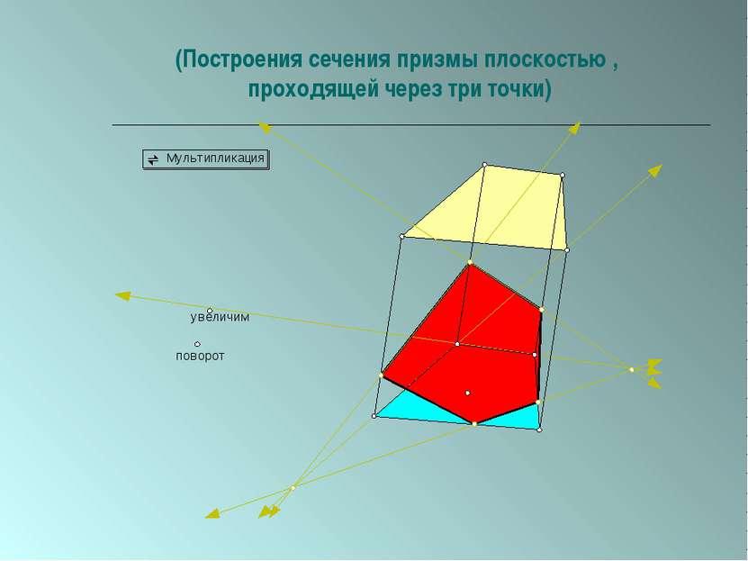 (Построения сечения призмы плоскостью , проходящей через три точки)
