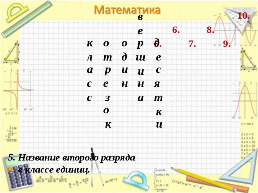 7. 6. 5. 8. 9. 10. 5. Название второго разряда в классе единиц. к л а с с о з...