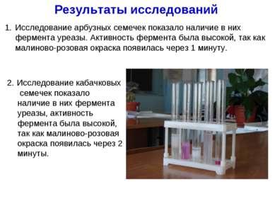 Результаты исследований 2. Исследование кабачковых семечек показало наличие в...
