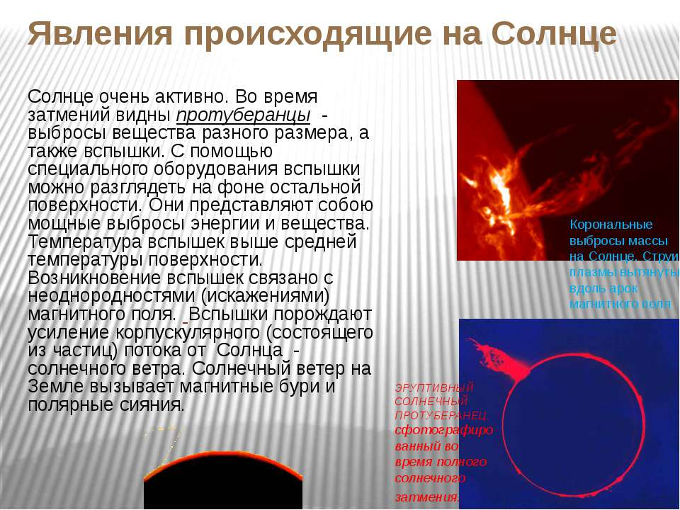 Явления происходящие на Солнце Солнце очень активно. Во время затмений видны ...