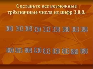 Составьте все возможные трёхзначные числа из цифр 3,0,8.