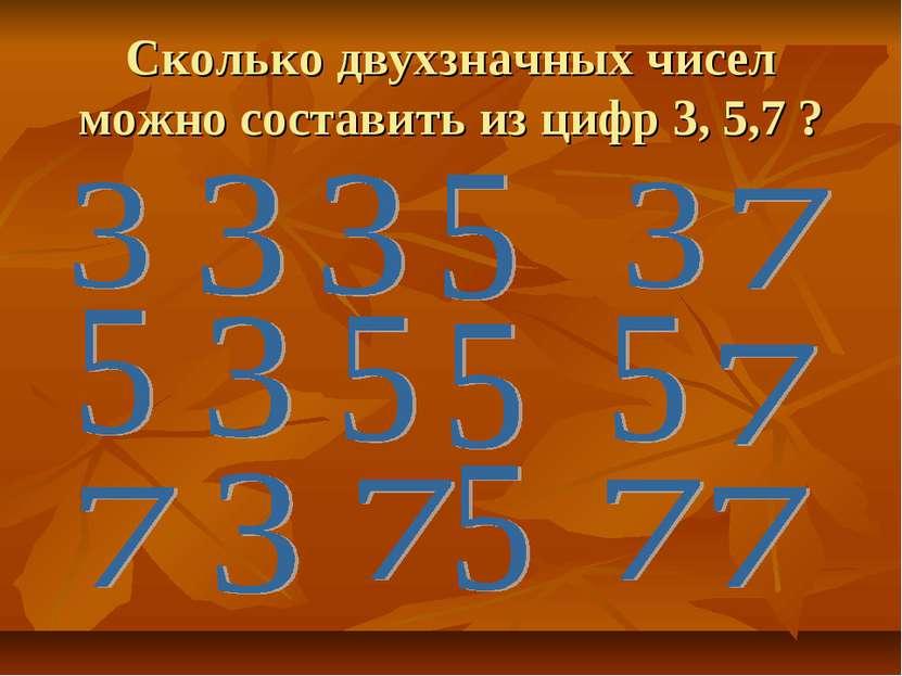 Сколько двухзначных чисел можно составить из цифр 3, 5,7 ?