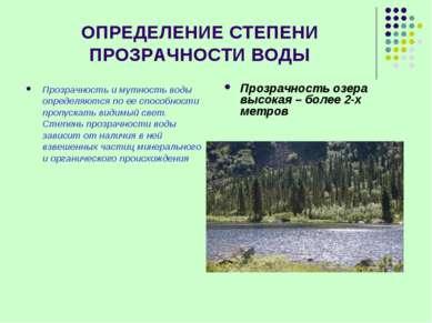ОПРЕДЕЛЕНИЕ СТЕПЕНИ ПРОЗРАЧНОСТИ ВОДЫ Прозрачность и мутность воды определяют...