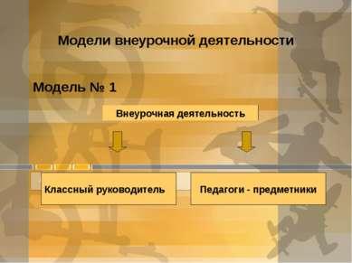 Модели внеурочной деятельности Модель № 1 Внеурочная деятельность Классный ру...