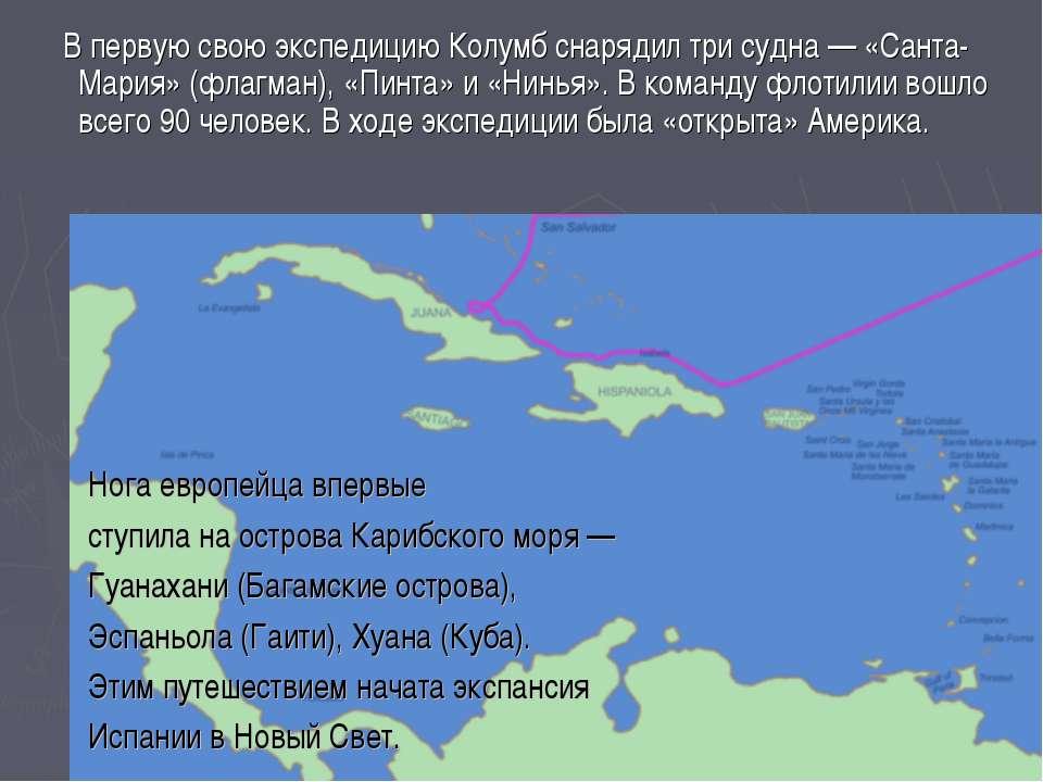 В первую свою экспедицию Колумб снарядил три судна — «Санта-Мария» (флагман),...