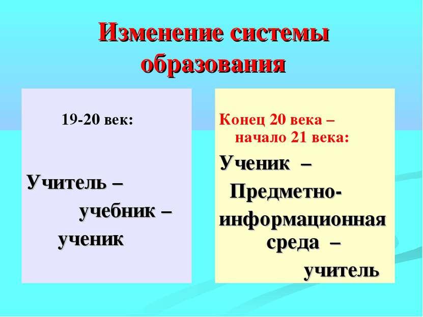 Изменение системы образования 19-20 век: Учитель – учебник – ученик Конец 20 ...