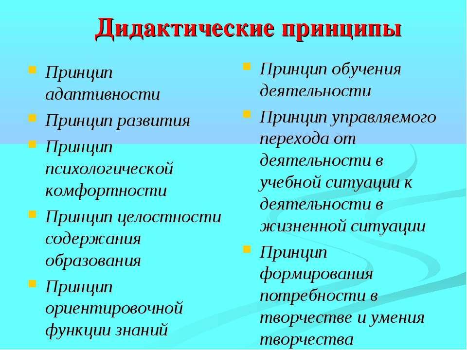 Дидактические принципы Принцип адаптивности Принцип развития Принцип психолог...