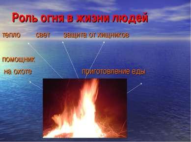 Роль огня в жизни людей тепло свет защита от хищников помощник на охоте приго...