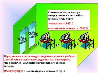 Оптимальные параметры микроклимата в дисплейных классах следующие: температур...