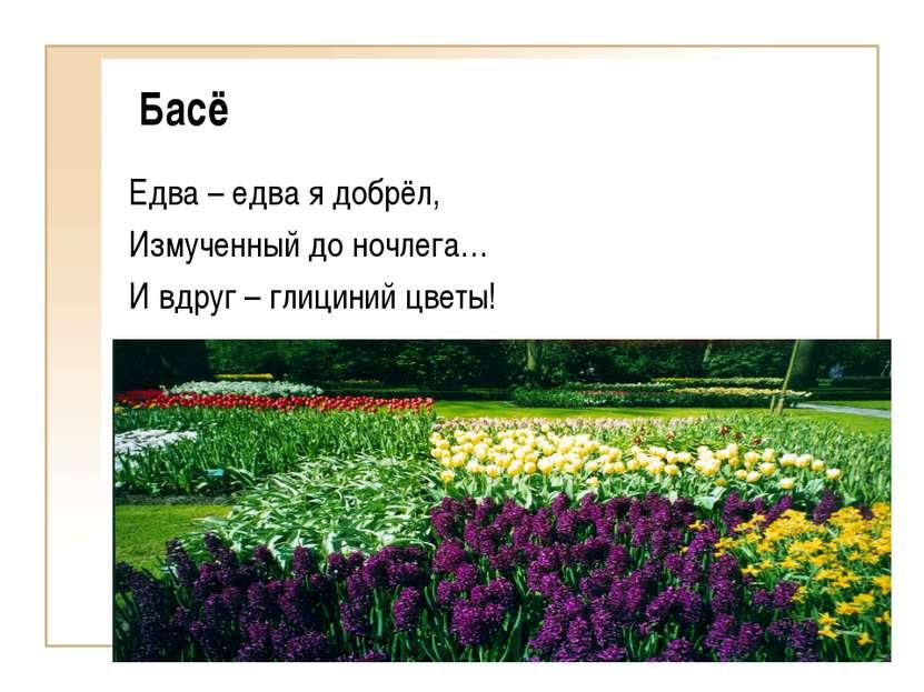 Басё Едва – едва я добрёл, Измученный до ночлега… И вдруг – глициний цветы!